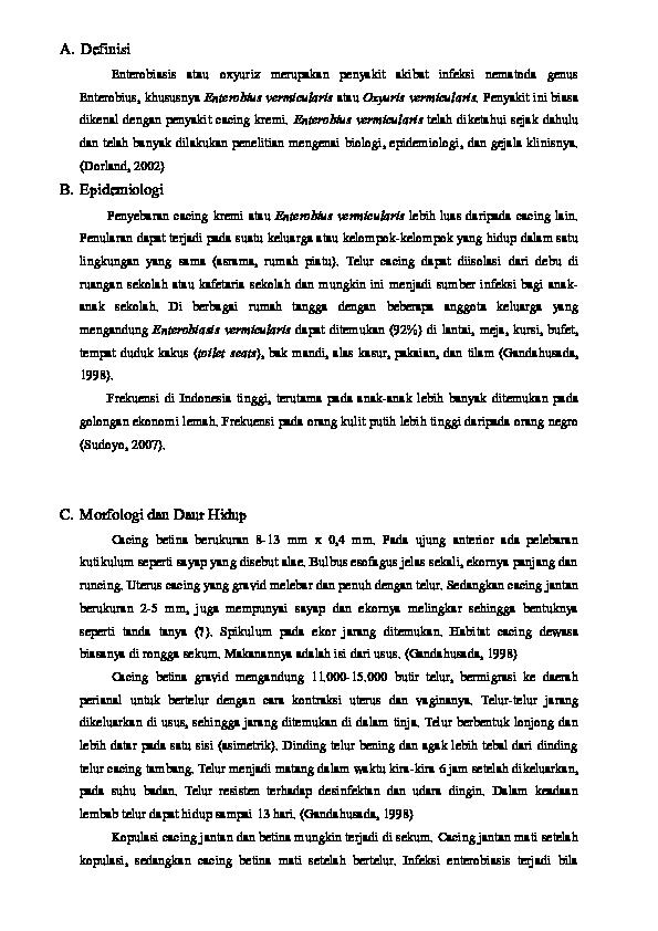 enterobius vermicularis, amelyet a betegség termel