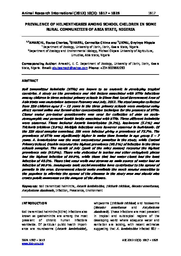 mi a helminthiasis a galandféreg paraziták szinonimája