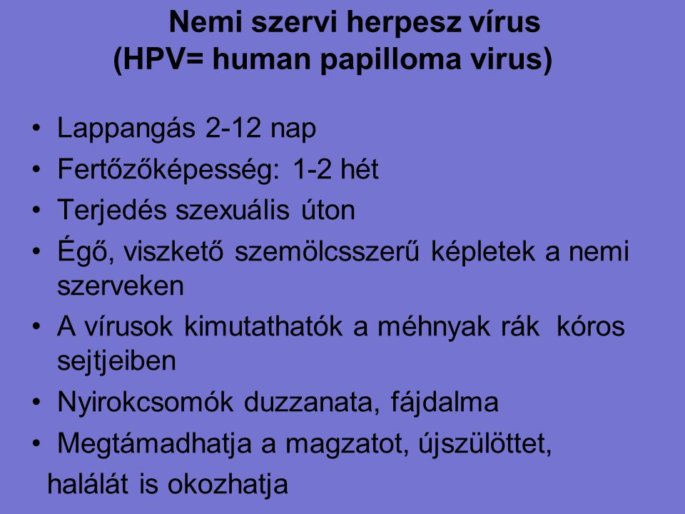 genitális hpv fertőzés hosszú távú hatások