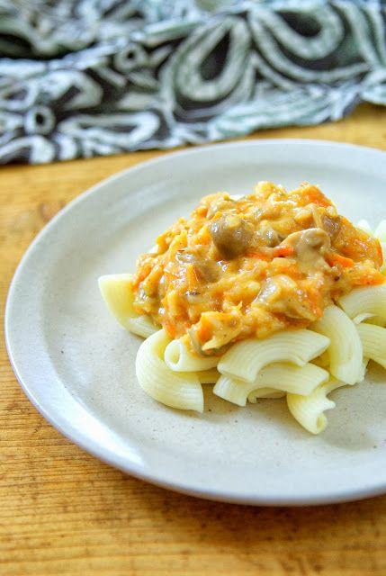 Gombakrémes spagetti (laktózmentes, vegán)